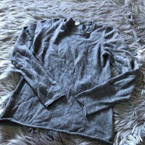 J crew grey Merino wool blend long sleeve sweater